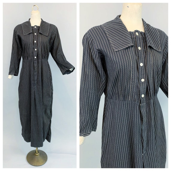 Antique 1900s 1910s calico work dress | Victorian