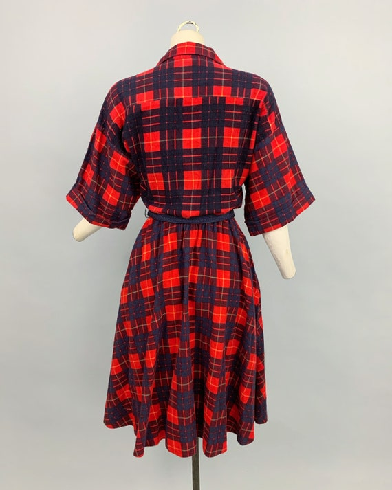 Vintage 80s does 50s plaid flannel dress | 1980s … - image 8