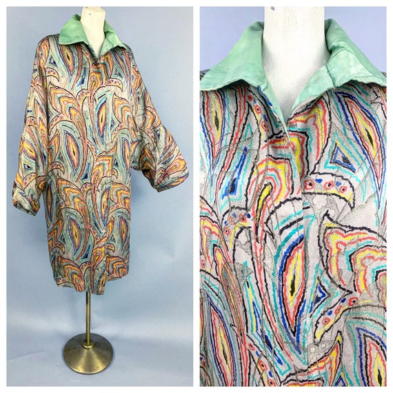 1920s Lamé opera coat   Vintage 20s RARE printed L