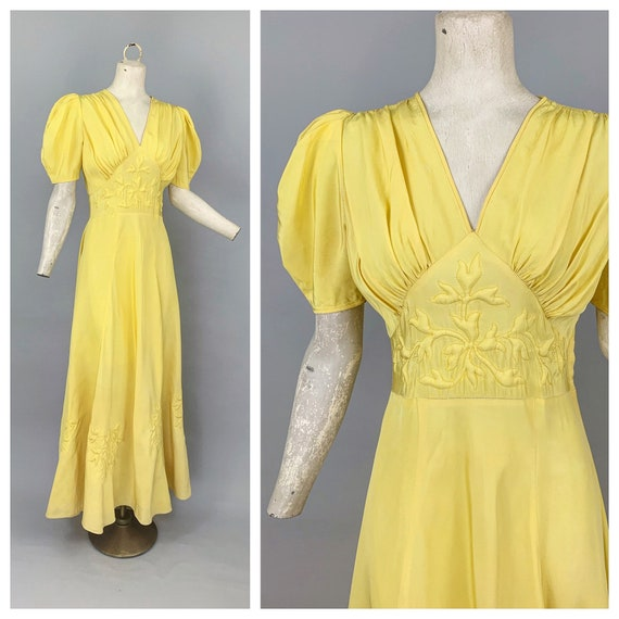 Vintage 30s yellow trapunto puff sleeve gown | 193