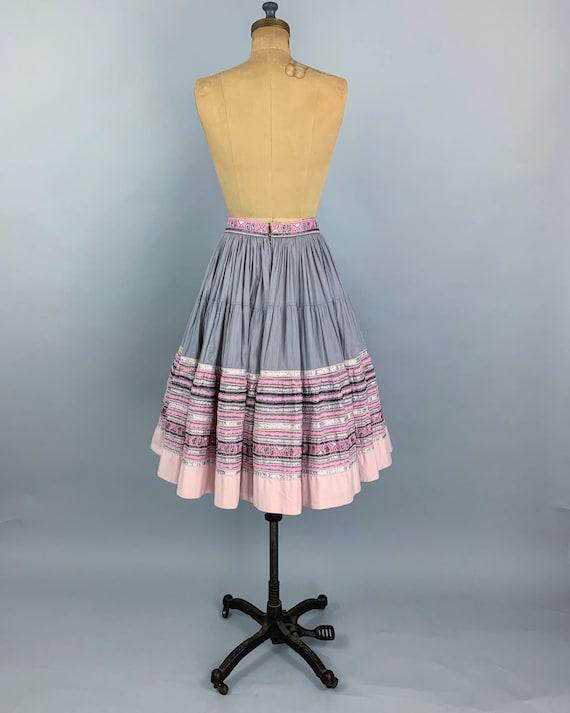 Vintage 50s circle patio skirt | 1950s pink & sil… - image 7