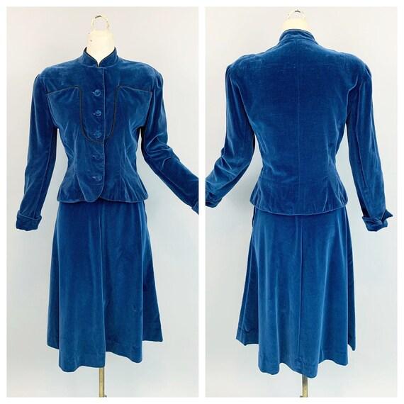Vintage 40s blue velvet suit | 1940s McArthur Ltd.