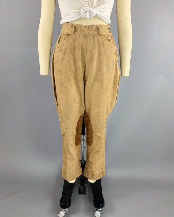 Vintage 40s khaki riding jodphurs   1930s 1940s l… - image 2