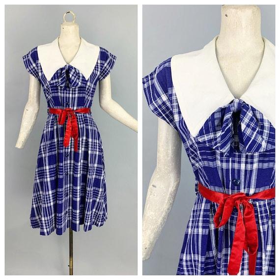 Vintage 30s 40s plaid cotton dress | 1930s 1940s b