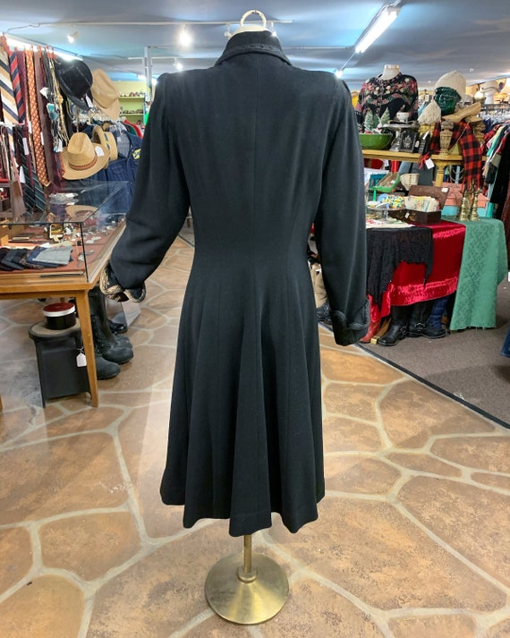 Vintage 40s black wool princess coat | 1940s prin… - image 7