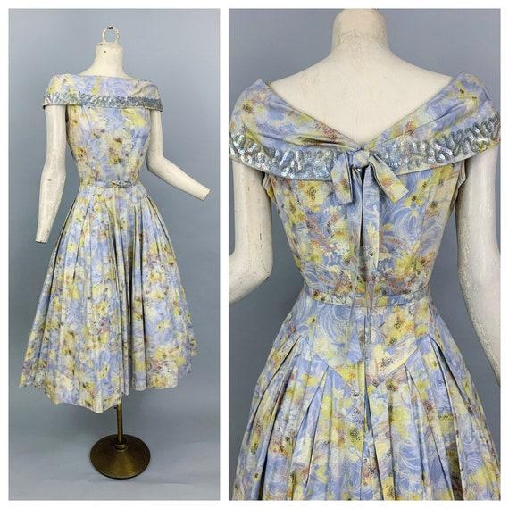Vintage 50s Impressionist party dress | 1950s Natl