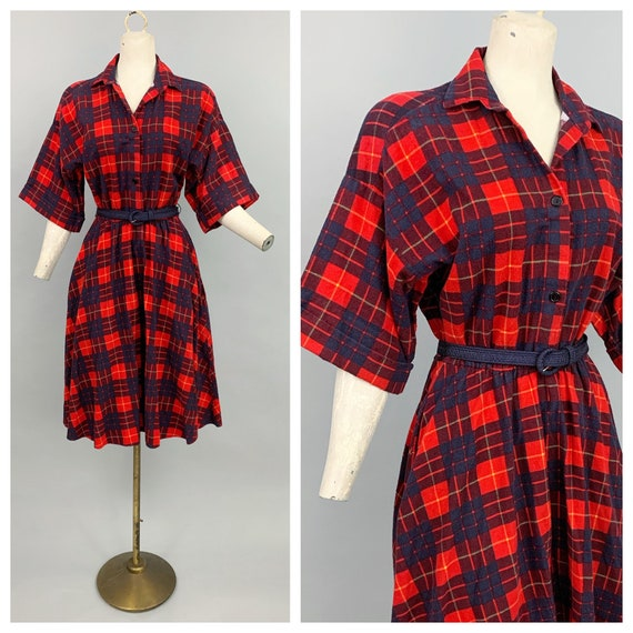Vintage 80s does 50s plaid flannel dress | 1980s … - image 1