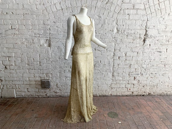 Vintage 30s gold LAME bias cut metallic gown | 193