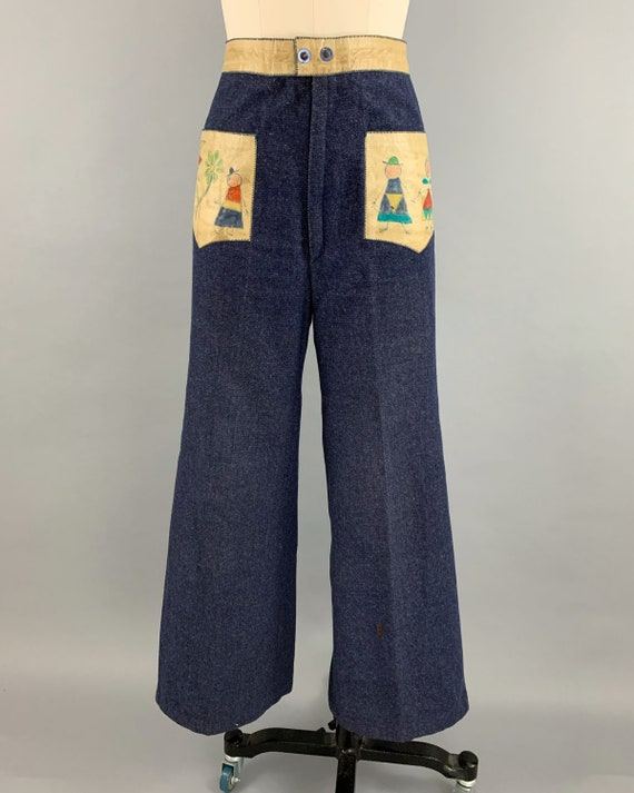 Vintage 70s denim handpainted leather suit | 1970… - image 7