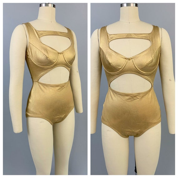 Vintage 80s Norma Kamali OMO gold swimsuit | 1980s