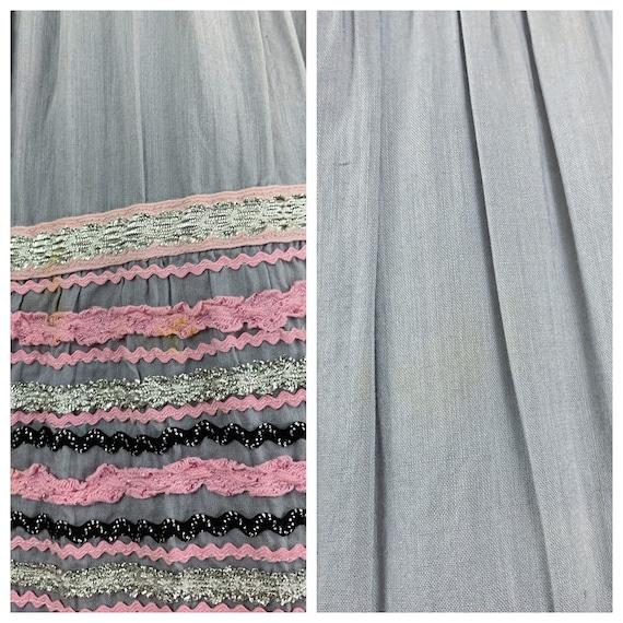 Vintage 50s circle patio skirt | 1950s pink & sil… - image 10