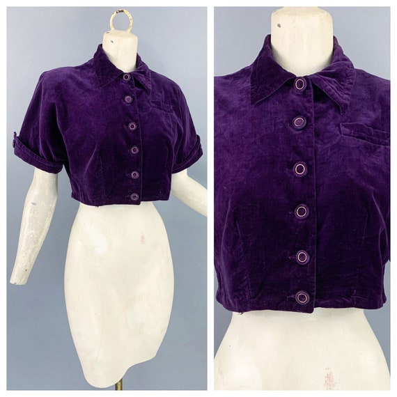 Vintage 40s velveteen crop top | 1940s Koret of Ca