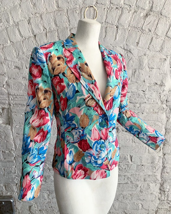 Vintage 70s 80s Cacharel tulip print wool blazer … - image 3
