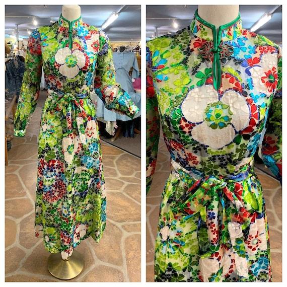 Vintage 60s 70s burnout velvet hostess dress gown… - image 1