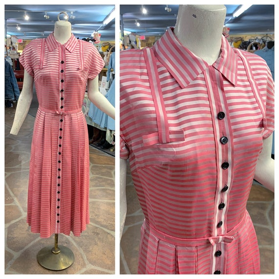 Vintage 40s 50s pink candy cane striped satin butt