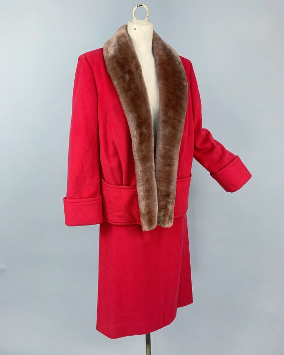 Vintage 30s ladies skirt suit with mouton collar … - image 5