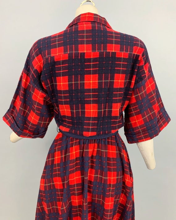 Vintage 80s does 50s plaid flannel dress | 1980s … - image 9