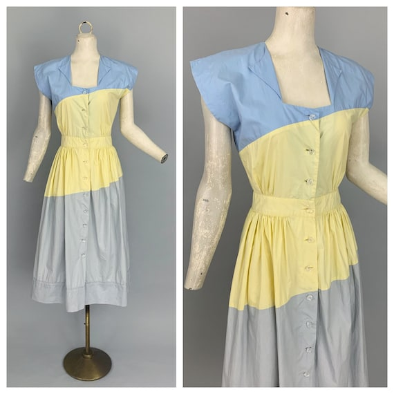 Vintage 40s color block cotton dress | 1940s A Jol
