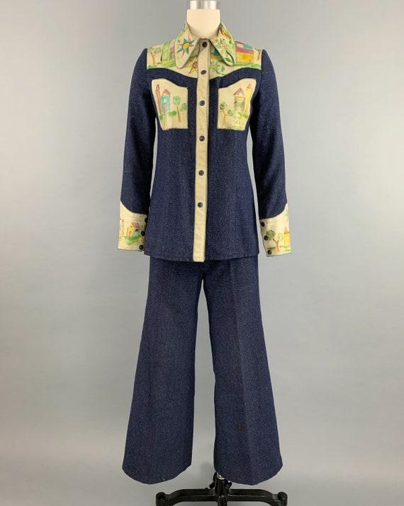 Vintage 70s denim handpainted leather suit | 1970… - image 2