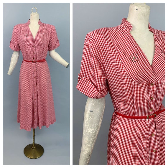 Vintage 40s gingham dress | 1940s Adele Fashions r