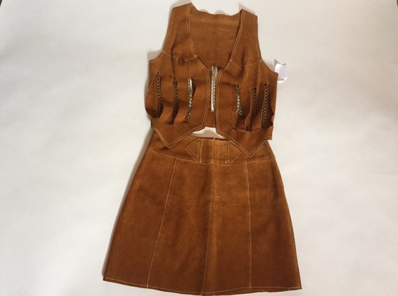 1960s/1970s suede chain vest and mini A-line skirt