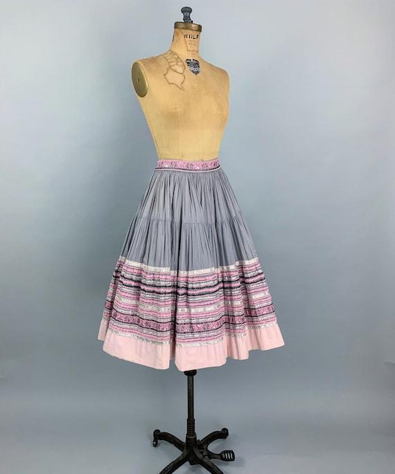 Vintage 50s circle patio skirt | 1950s pink & sil… - image 5