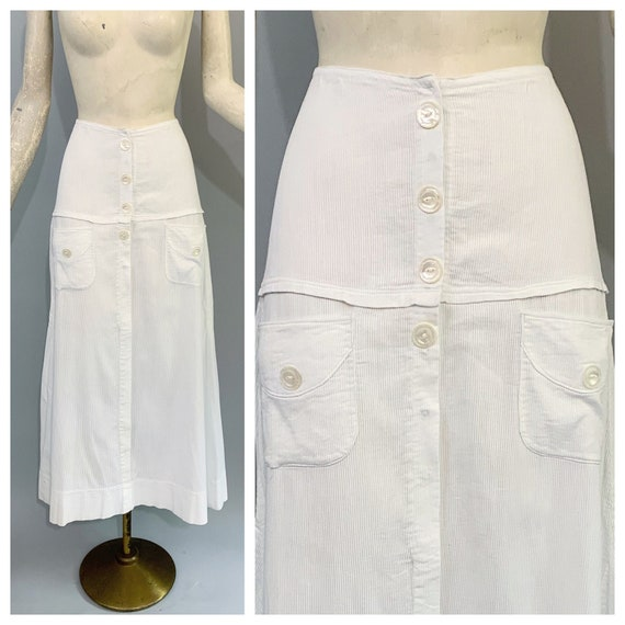 Antique 1900s 1910s walking tennis skirt in ribbed