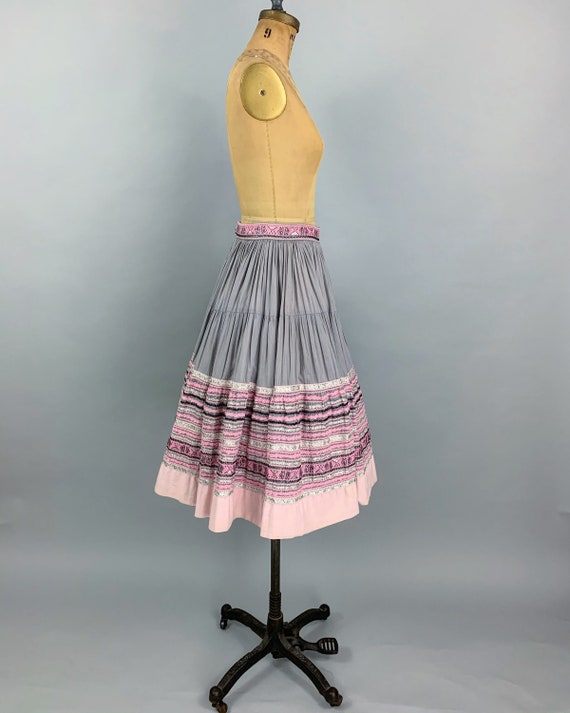 Vintage 50s circle patio skirt | 1950s pink & sil… - image 6