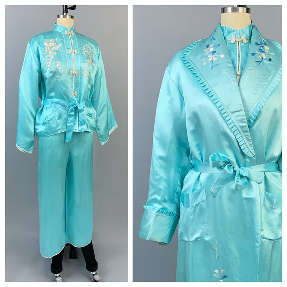Vintage 40s 50s aqua silk pajamas robe set in orig