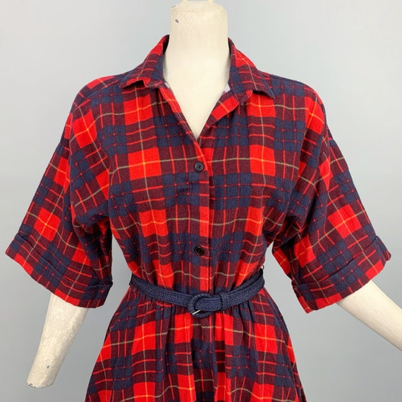 Vintage 80s does 50s plaid flannel dress | 1980s … - image 3
