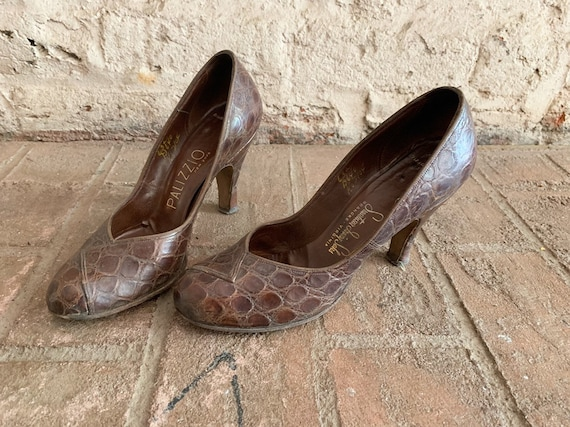 Vintage 30s 40s leather heels | 1930s 1940s reptil