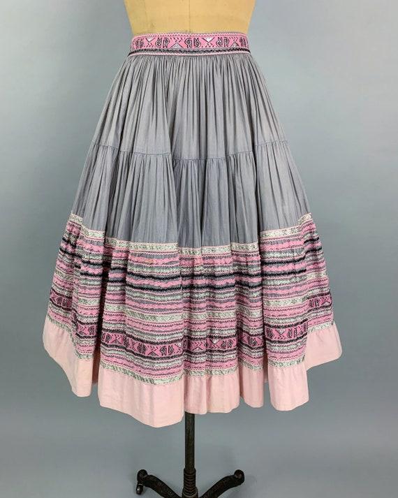 Vintage 50s circle patio skirt | 1950s pink & sil… - image 4