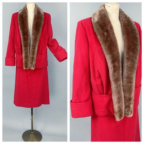 Vintage 30s ladies skirt suit with mouton collar … - image 1