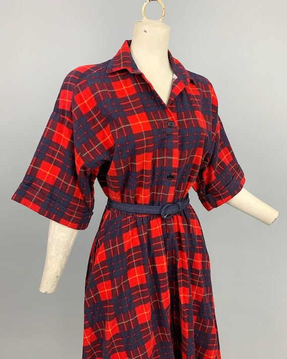 Vintage 80s does 50s plaid flannel dress | 1980s … - image 5