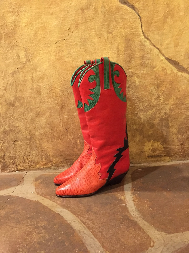 Charles David 1980s red snakeskin embossed patched red leather Southwestern cowboy boots made in Italy