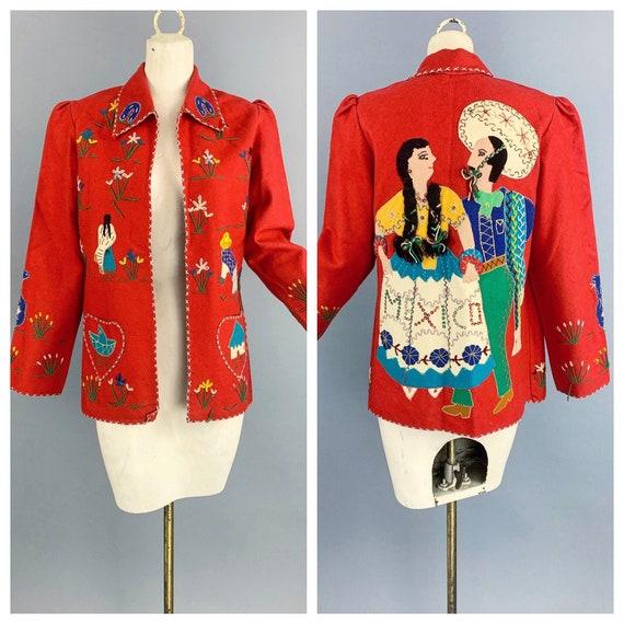 Vintage 40s Mexican souvenir jacket | 1940s hand e
