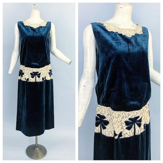 1920s sapphire velvet & lace dress | Vintage 20s b