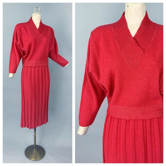 Vintage 40s 50s red knit set / 1940s 1950s KIMS Ki