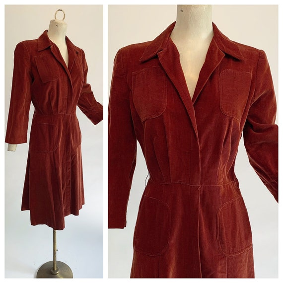 Vintage 40s rust corduroy day dress | 1940s cordur