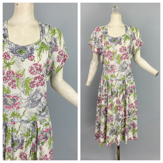 Vintage 40s floral rayon dress | 1940s floral rayo