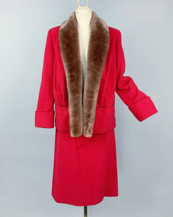 Vintage 30s ladies skirt suit with mouton collar … - image 2