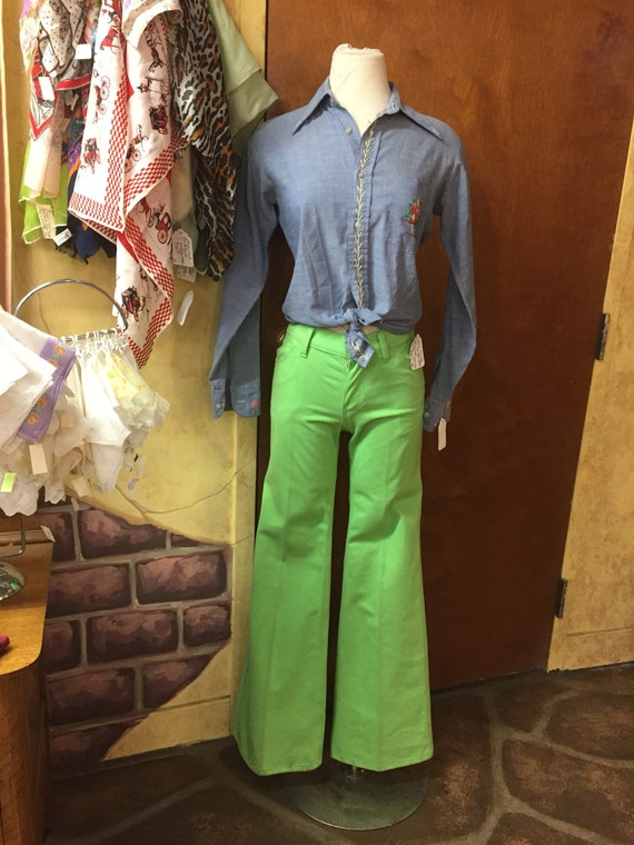 Levi's 1970s lime green brushed cotton bell bottom