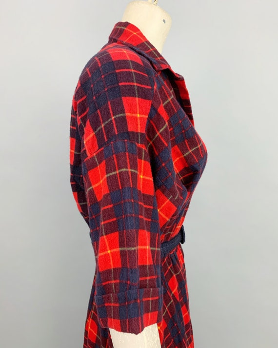 Vintage 80s does 50s plaid flannel dress | 1980s … - image 7