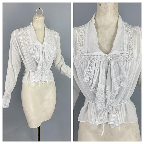 Vintage Edwardian cotton & lace jabot collar blous