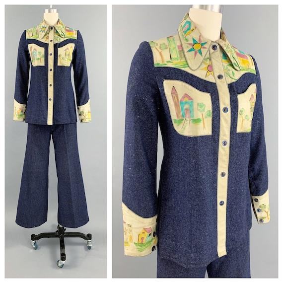 Vintage 70s denim handpainted leather suit | 1970… - image 1