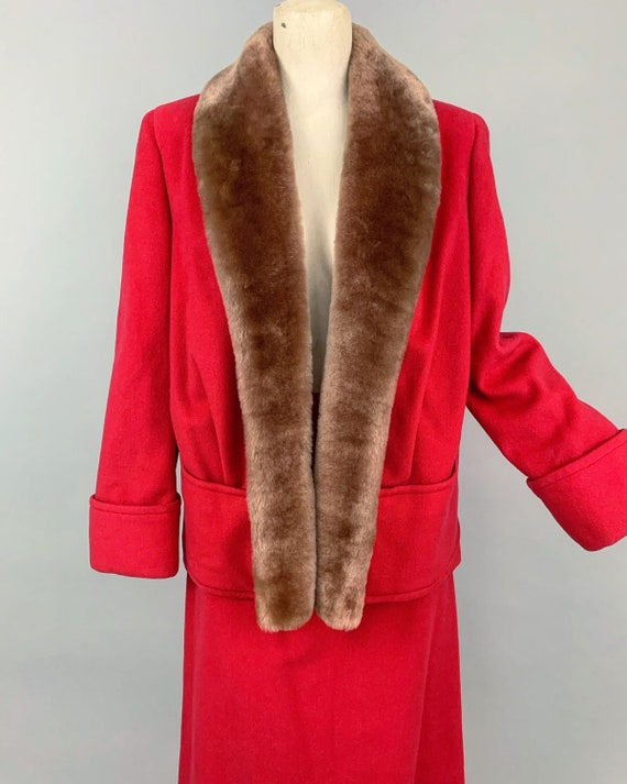 Vintage 30s ladies skirt suit with mouton collar … - image 3