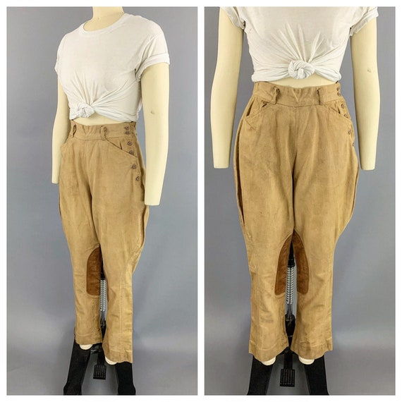 Vintage 40s khaki riding jodphurs   1930s 1940s l… - image 1