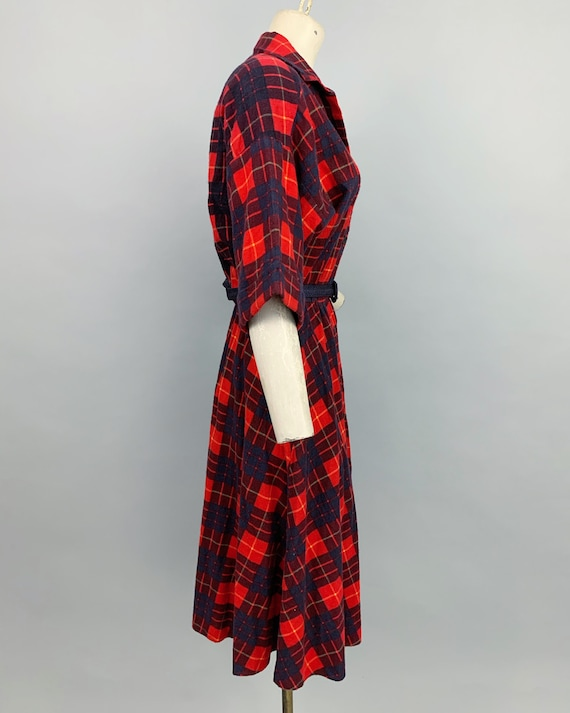Vintage 80s does 50s plaid flannel dress | 1980s … - image 6
