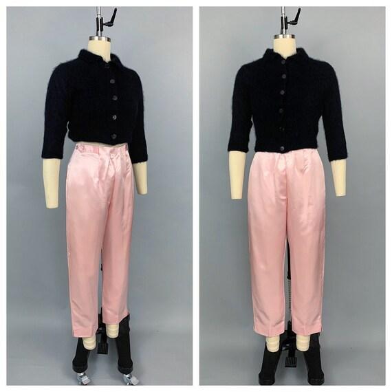 Vintage 50s 60s pink satin cigarette pants | 1950s