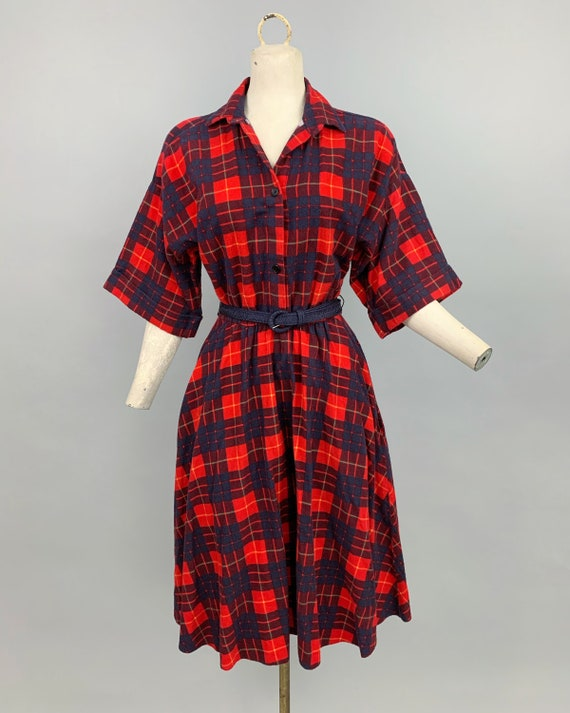 Vintage 80s does 50s plaid flannel dress | 1980s … - image 2